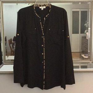 EUC Calvin Klein blouse, black w/ leopard trim.